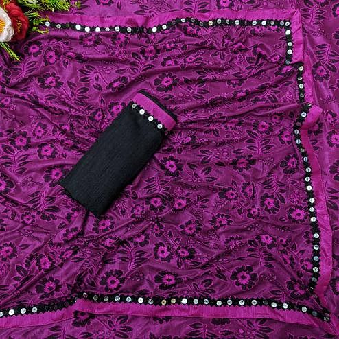 Innovative Magenta Colored Festive Wear Floral Woven Lycra Saree