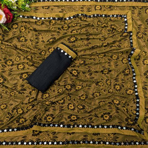 Eye-catching Mustard Colored Festive Wear Floral Woven Lycra Saree