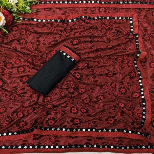 Amazing Red Colored Festive Wear Floral Woven Lycra Saree