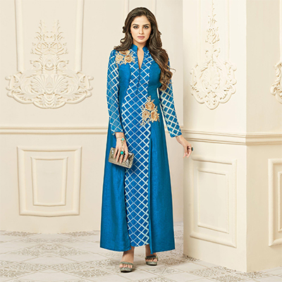 Blooming Blue Designer Embroidered Mastani Silk Abaya Style Anarkali Gown