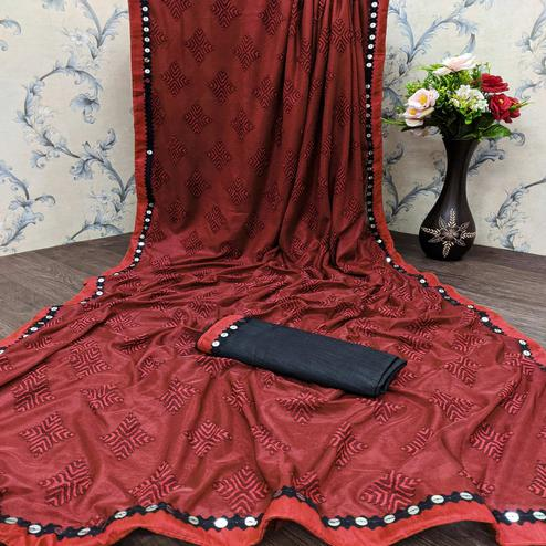 Majesty Red Colored Festive Wear Woven Lycra Saree