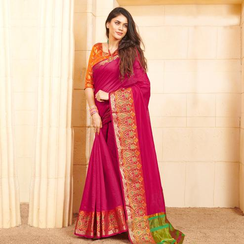 Mesmeric Dark Pink Colored Festive Wear Woven Fancy Linen Saree