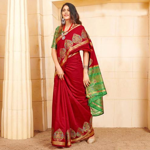 Hypnotic Red Colored Festive Wear Woven Fancy Linen Saree