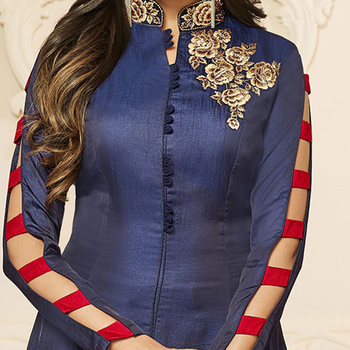 Mesmerising Navy Blue Designer Embroidered Two Tone Cotton Silk Abaya Style Anarkali Gown