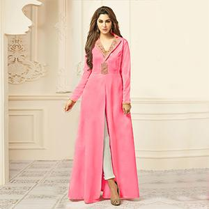 Precious Pink Designer Embroidered Satin Silk Abaya Style Anarkali Gown
