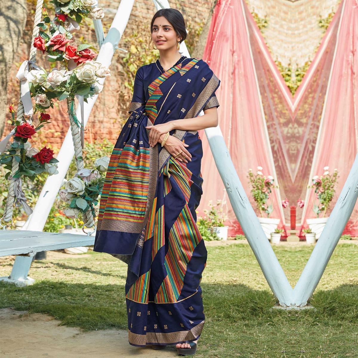 Exclusive Navy Blue Colored Festive Wear Woven Silk Saree
