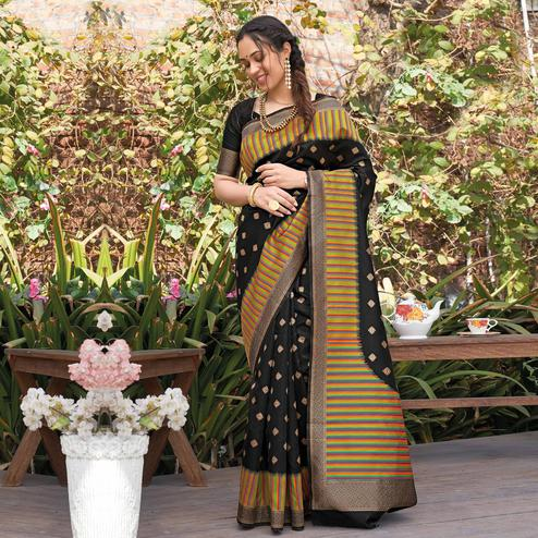 Adorable Black Colored Festive Wear Woven Silk Saree