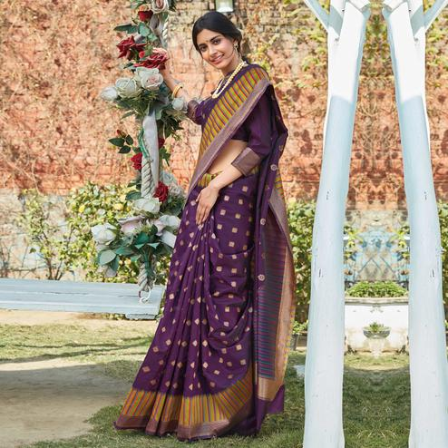 Attractive Wine Colored Festive Wear Woven Silk Saree