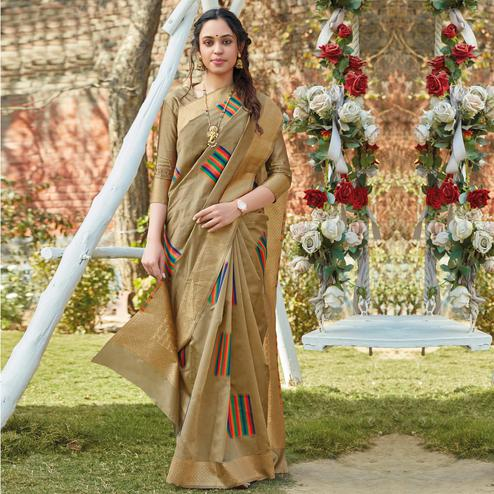 Beautiful Beige Colored Festive Wear Woven Silk Saree