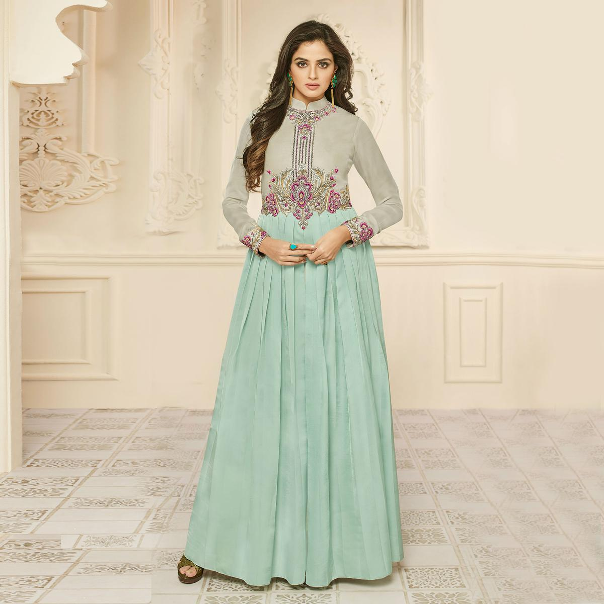 Lovely Sky Blue Designer Embroidered Silk Abaya Style Anarkali Gown