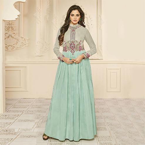 Lovely Sky Blue Designer Embroidered Satin Silk Abaya Style Anarkali Gown