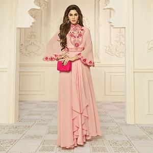 Graceful Peach Designer Embroidered Georgette Abaya Style Gown
