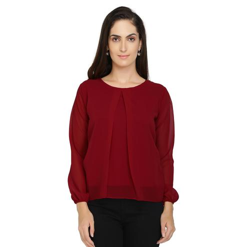 Chimpaaanzee - Maroon Colored Casual Solids Georgette Top