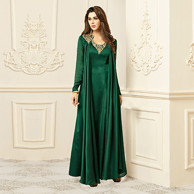 Elegant Green Designer Embroidered Pure Rayon Abaya Style Gown