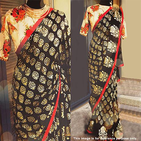 Graceful Black Designer Foil Printed Paper Silk Saree