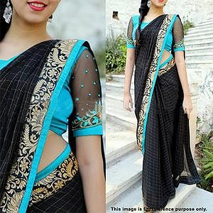 Gorgeous Black-Blue Designer Woven Jacquard Saree