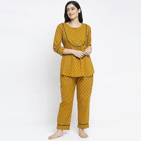 Aujjessa - Mustard Green Cotton Printed Night Suit