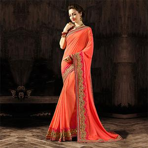Stunning Peach Designer Embroidered Georgette And Moss Chiffon Saree