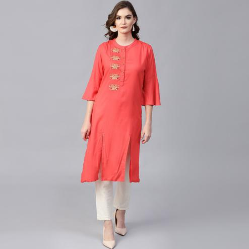 Pannkh - Women's Red Embroidered Bell Sleeves Straight Kurta