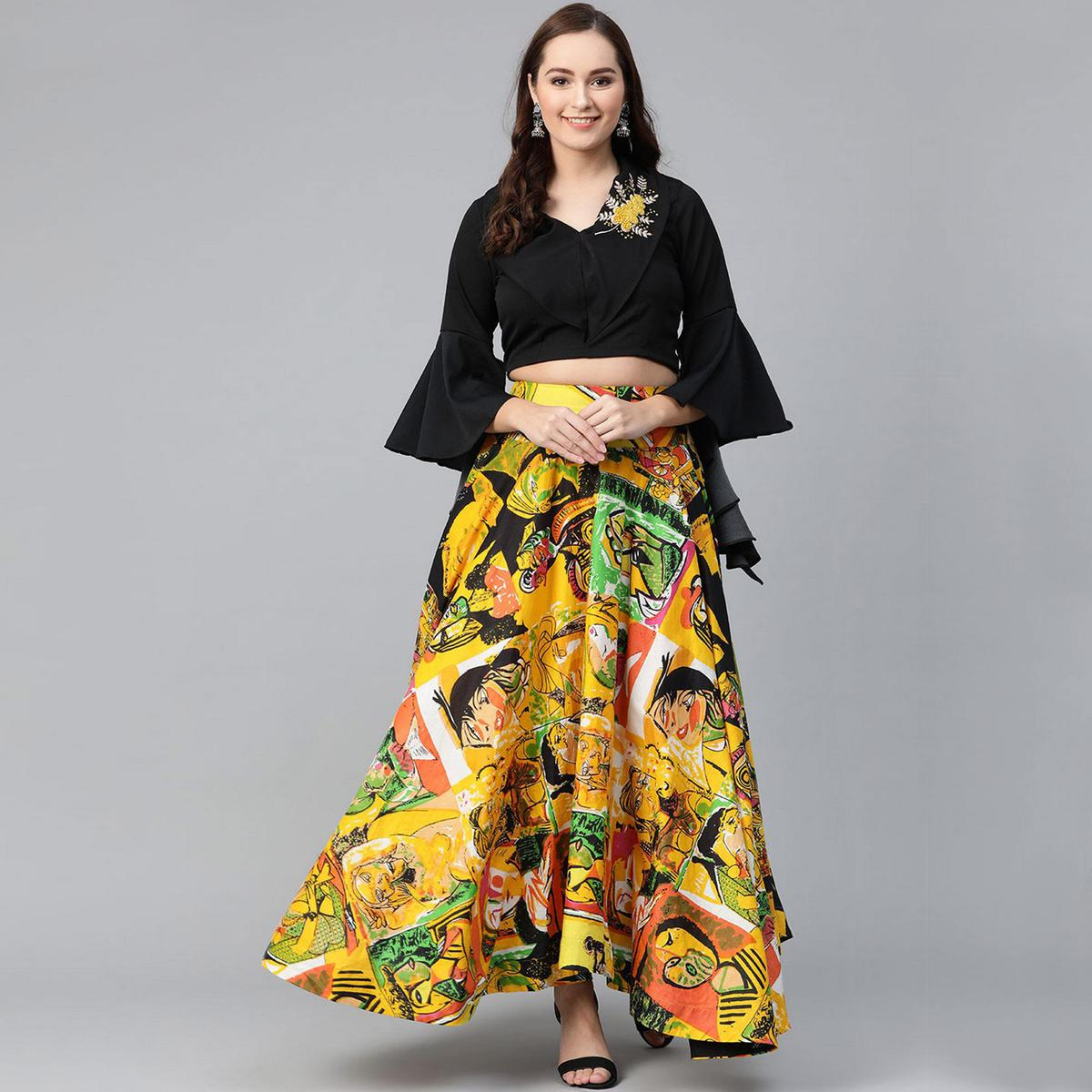 Pannkh - Women's Embroidered Crop Top With Picasso Printed Skirt