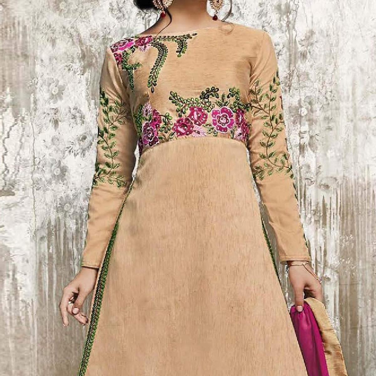 Beige - Pink Embroidered Work Lehenga Suit