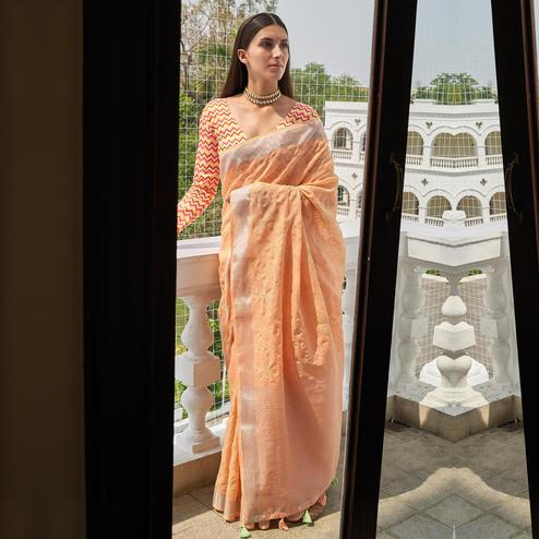 Graceful Orange Colored Partywear Embroidered Fancy Linen Saree