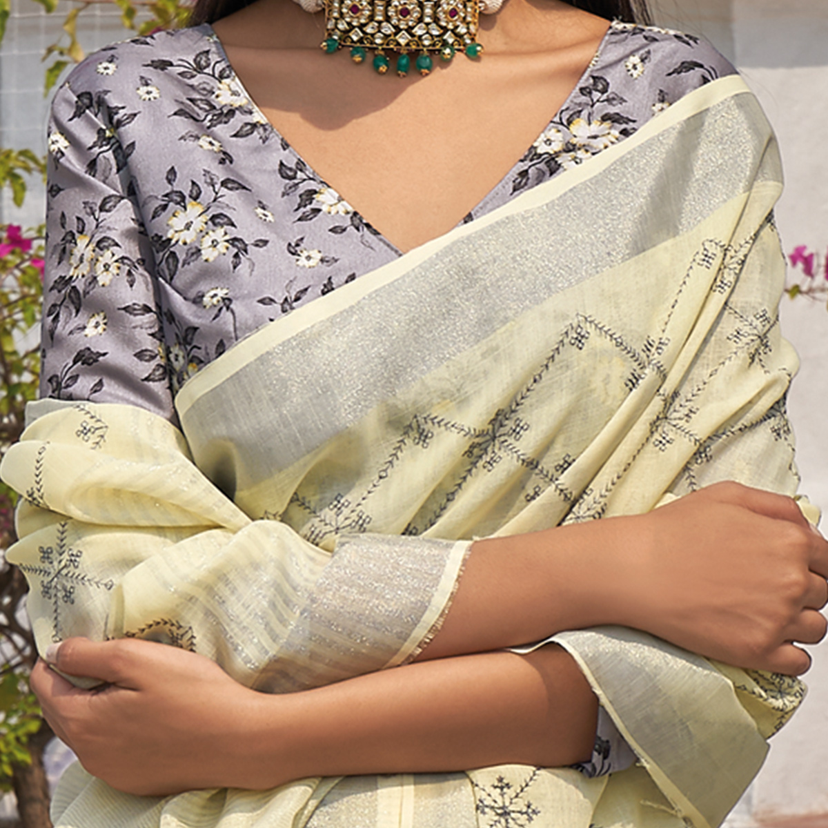 Delightful Light Yellow Colored Partywear Embroidered Fancy Linen Saree
