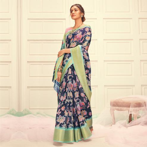 Engrossing Navy Blue Colored Casual Wear Digital Printed Linen Saree