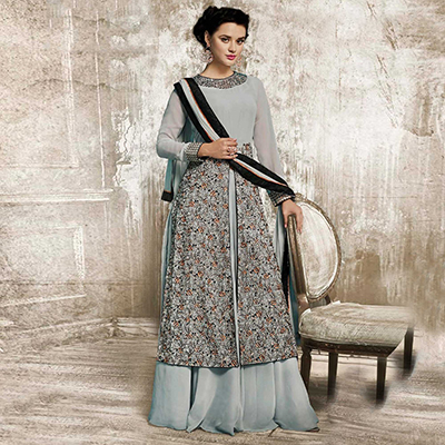 Grey Embroidered Work Lehenga Suit