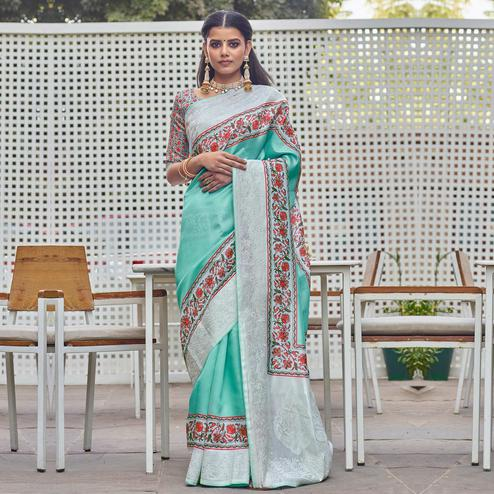 Gorgeous Turquoise Green Colored Partywear Embroidered Silk Saree