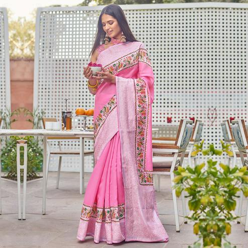 Blissful Pink Colored Partywear Embroidered Silk Saree