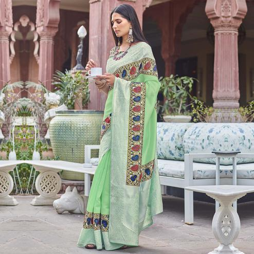 Ideal Green Colored Partywear Embroidered Silk Saree