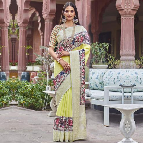 Imposing Lemon Yellow Colored Partywear Embroidered Silk Saree