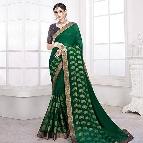 Ethnic Green Colored Festive Wear Woven Heavy Georgette Saree