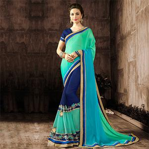 Dazzling Green-Blue Designer Embroidered Georgette And Moss Chiffon Saree
