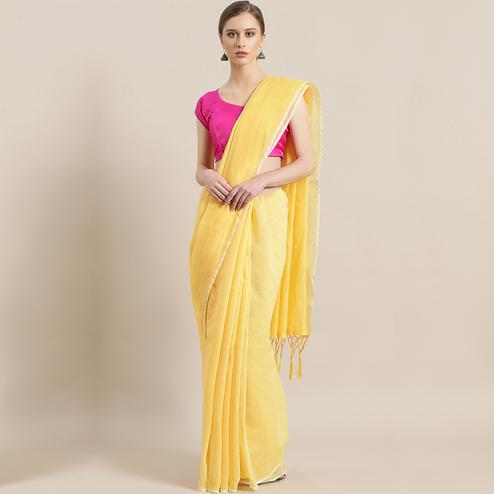 Opulent Yellow Colored Festive Wear Woven Chanderi Silk Saree