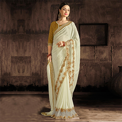 Mesmerising Off White Colored Designer Embroidered Georgette And Moss Chiffon Saree