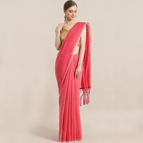 Energetic Red Colored Festive Wear Woven Chanderi Silk Saree