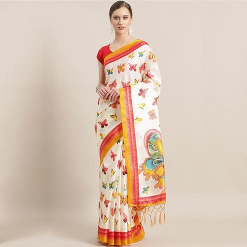 Exceptional White - Yellow Colored Casual Wear Printed Mysore Silk Saree