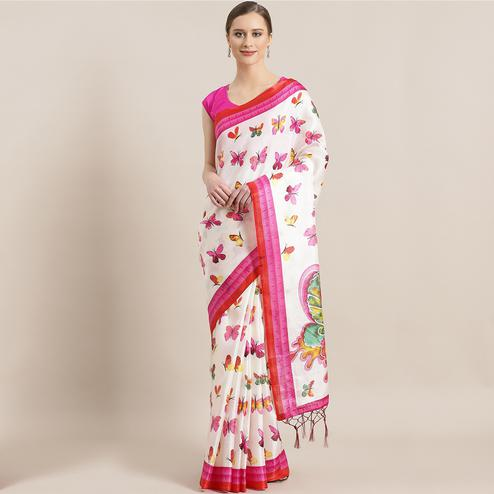 Gleaming White - Pink Colored Casual Wear Printed Mysore Silk Saree