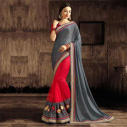 Marvellous Gray-Red Designer Embroidered Georgette And Moss Chiffon Saree