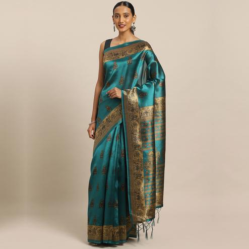 Flaunt Green Colored Festive Wear Printed Poly Silk Saree