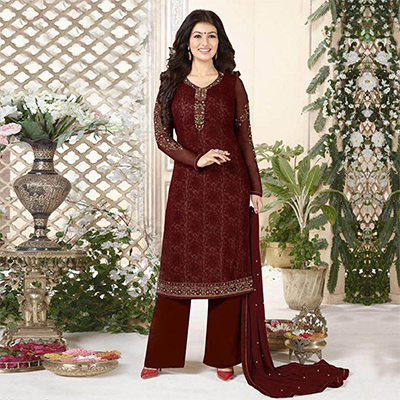 Brown Embroidered Work Palazzo Suit