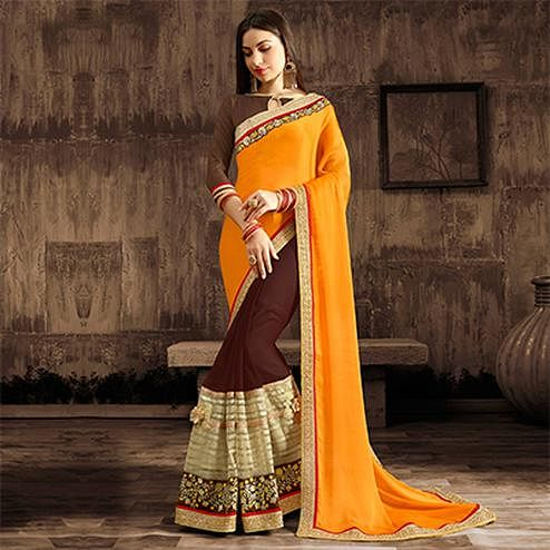 Graceful Yellow-Brown Designer Embroidered Georgette And Moss Chiffon Saree