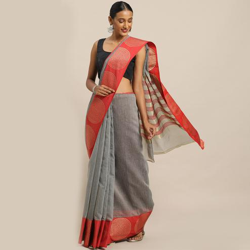 Capricious Grey Colored Casual Wear Printed Net Saree