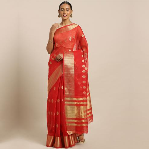 Entrancing Red Colored Festive Wear Woven Net Saree