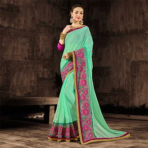 Gorgeous Green-Pink Designer Embroidered Georgette And Moss Chiffon Saree