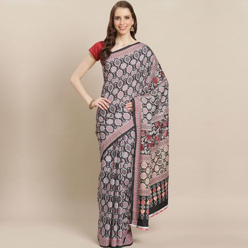 Blooming Black Colored Casual Wear Printed Crepe Saree