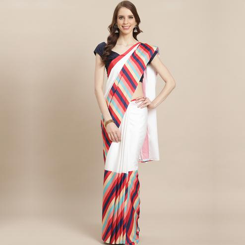 Jazzy White Colored Casual Wear Printed Crepe Saree