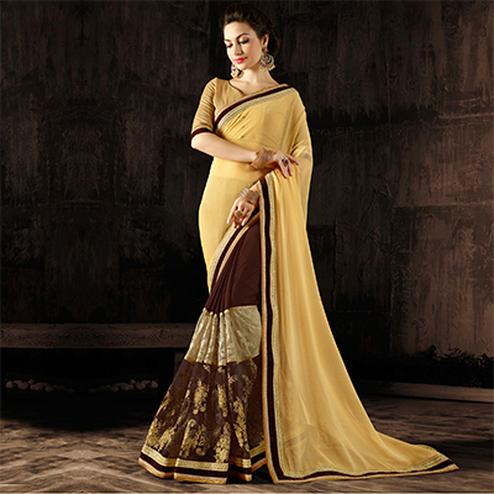 Lovely Beige-Brown Colored Designer Embroidered Georgette And Moss Chiffon Saree